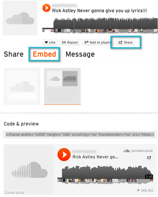 Embed Sound Cloud song