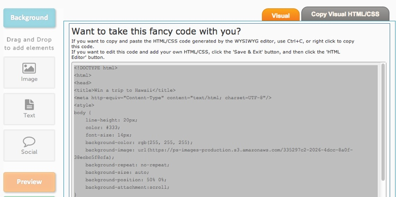 HTML code WYSIWYG