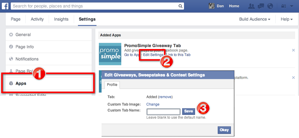 Change images for Facebook Page Tabs