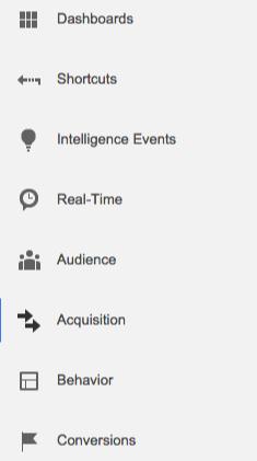 Google Analytics Menu