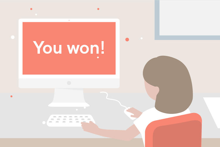 "Woman in front of laptop screen that states ""You won!"""