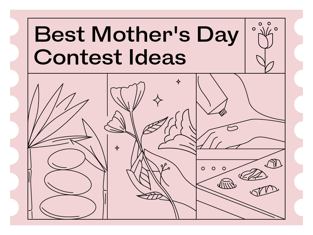 line drawing illustrations of typical Mother's Day gift ideas