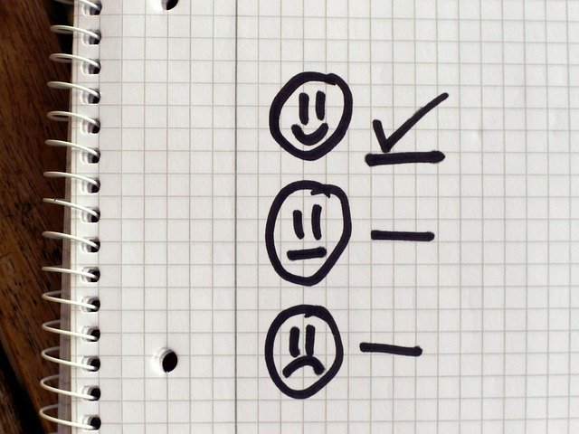 Checklist with a happy face checked off and an unsmiling and sad face not checked off.