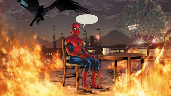 Image of spiderman surrounded by fire